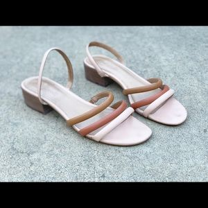 Madewell Pink Tricolor Strappy Sandal Size 8.5